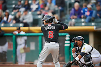 Derrik Gibson (8) of the Albuquerque Isotopes bats against the Salt Lake Bees at Smith's Ballpark on April 5, 2018 in Salt Lake City, Utah. Salt Lake defeated Albuquerque 9-3. (Stephen Smith/Four Seam Images)