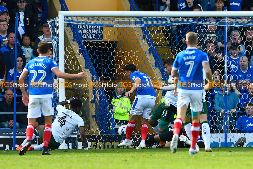 Gary Roberts of Portsmouth (11) scores to make the score 1-1 during Portsmouth vs Plymouth Argyle, Sky Bet EFL League 2 Football at Fratton Park on 14th April 2017