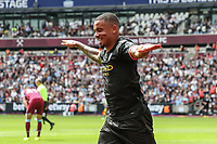 GOAL - Gabriel Jesus of Manchester City celebrates after he scores the opening goal during the Premier League match between West Ham United and Manchester City at the London Stadium, London, England on 10 August 2019. Photo by David Horn.