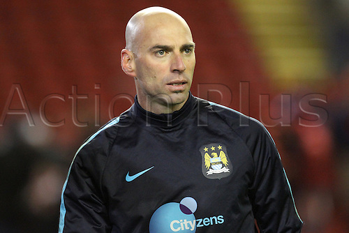 02.03.2016. Anfield Stadium, Liverpool, England. Barclays Premier League. Liverpool versus Manchester City. Wilfredo Caballero of Manchester City warms up