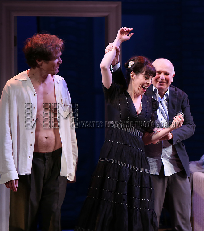 """Michael Shannon, Terrence McNally, Arin Arbus during the Opening Night Curtain Call for """"Frankie and Johnny in the Clair de Lune"""" at the Broadhurst Theatre on May 29, 2019  in New York City."""