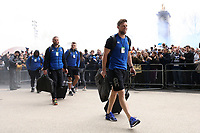Rhys Priestland and the rest of the Bath Rugby team arrive at Twickenham Stadium. Gallagher Premiership match, The Clash, between Bath Rugby and Bristol Rugby on April 6, 2019 at Twickenham Stadium in London, England. Photo by: Rogan Thomson / JMP for Onside Images