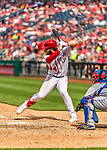 30 April 2017: Washington Nationals outfielder Bryce Harper at bat in the 6th inning against the New York Mets at Nationals Park in Washington, DC. The Nationals defeated the Mets 23-5, with the Nationals setting several individual and team records, in the third game of their weekend series. Mandatory Credit: Ed Wolfstein Photo *** RAW (NEF) Image File Available ***