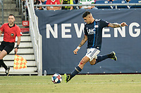 FOXBOROUGH, MA - JULY 27:  Gustavo Bou #7 passes down the field at Gillette Stadium on July 27, 2019 in Foxborough, Massachusetts.