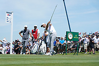 Dustin Johnson (USA) tees off on the first hole during his final round of the 118th U.S. Open Championship at Shinnecock Hills Golf Club in Southampton, NY, USA. 17th June 2018.<br /> Picture: Golffile | Brian Spurlock<br /> <br /> <br /> All photo usage must carry mandatory copyright credit (&copy; Golffile | Brian Spurlock)