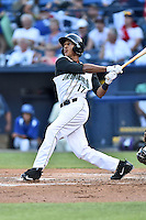 Augusta GreenJackets center fielder Johneshwy Fargas (17) swings at a pitch during the South Atlantic League All Star Game on June 23, 2015 in Asheville, North Carolina. The North Division defeated the South 7-5(Tony Farlow/Four Seam Images)