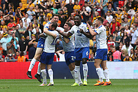 Tranmere Rovers players run towards Connor Jennings who scored the only goal of the match at the final whistle as they celebrate promotion to Division One during Newport County vs Tranmere Rovers, Sky Bet EFL League 2 Play-Off Final Football at Wembley Stadium on 25th May 2019