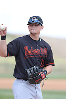 Justin Seager (10) of the Bakersfield Blaze in the field during a game against the High Desert Mavericks at Mavericks Stadium on May 18, 2015 in Adelanto, California. High Desert defeated Bakersfield, 7-6. (Larry Goren/Four Seam Images)