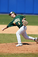 March 14, 2010:  Pitcher Mark Ries (5) of North Dakota State University Bison vs. Akron University at Chain of Lakes Park in Winter Haven, FL.  Photo By Mike Janes/Four Seam Images