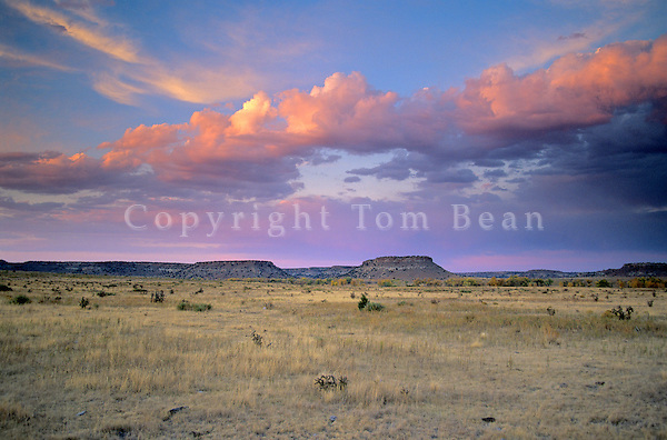 Sunset over prairie and mesa on Hitching Post Ranch near Kenton, Cimarron County, Oklahoma, AGPix_0172.