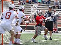 College Park, MD - April 22, 2018: Ohio State Buckeyes Jack Jasinski (5) attempts a shot during game between Ohio St. and Maryland at  Capital One Field at Maryland Stadium in College Park, MD.  (Photo by Elliott Brown/Media Images International)