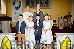 Pupils from Scoil Dar Earca, Valentia who made their First Holy Communion in Knightstown on Sunday were front l-r; Cohen Corcoran, Saoirse King, Óisín O'Connell, Marie Clare Daly, back l-r; Fr. Gerard Finucane & Sharon Musgrave(Teacher).