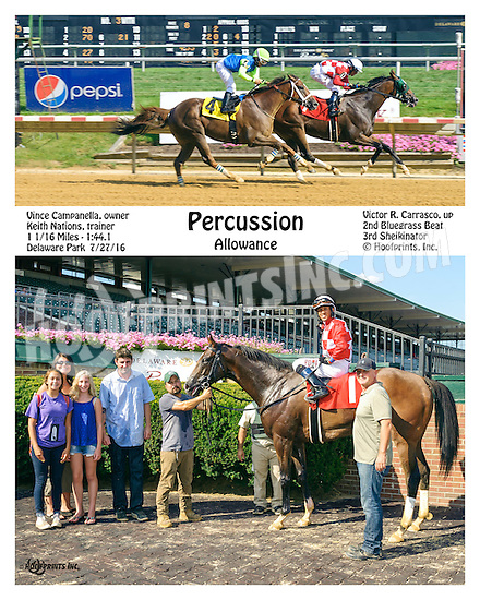 Percussion winning at Delaware Park on 7/27/16