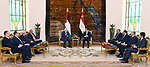 Egyptian President Abdel Fattah al-Sisi meets with Palestinian President Mahmoud Abbas at the presidental palace in Cairo on April 21, 2019. Photo by Egyptian President Office