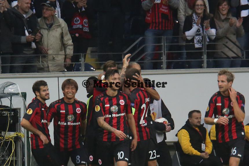 Torjubel beim 2:0 um Marco Russ (Eintracht) - 1. Spieltag der UEFA Europa League Eintracht Frankfurt vs. Girondins Bordeaux