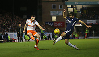 Blackpool's Oliver Turton gets in a cross under pressure from Southend United's Stephen Hendrie<br /> <br /> Photographer Rob Newell/CameraSport<br /> <br /> The EFL Sky Bet League One - Southend United v Blackpool - Saturday 17th November 2018 - Roots Hall - Southend<br /> <br /> World Copyright &copy; 2018 CameraSport. All rights reserved. 43 Linden Ave. Countesthorpe. Leicester. England. LE8 5PG - Tel: +44 (0) 116 277 4147 - admin@camerasport.com - www.camerasport.com