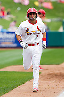 Niko Vasquez (7) of the Springfield Cardinals throws to first during a game against the Arkansas Travelers on May 10, 2011 at Hammons Field in Springfield, Missouri.  Photo By David Welker/Four Seam Images..