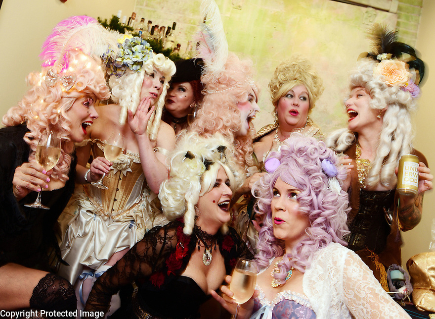 The Merry Antoinettes gather for champagne before marching with the Krewe du Vieux, 2018