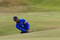 Rafael Cabrera-Bello (ESP) chips onto the 14th green during Thursday's Round 1 of the 2018 Dubai Duty Free Irish Open, held at Ballyliffin Golf Club, Ireland. 5th July 2018.<br /> Picture: Eoin Clarke | Golffile<br /> <br /> <br /> All photos usage must carry mandatory copyright credit (&copy; Golffile | Eoin Clarke)