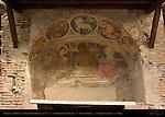 Fresco San Biagio del Mercato 12th c Madonna of Mercy and St John Evangelist Insula Romana Piazza Aracoeli Rome