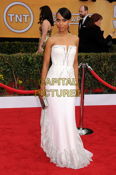 Kerry Washington (wearing Rodarte).Arrivals at the 19th Annual Screen Actors Guild Awards at the Shrine Auditorium in Los Angeles, California, USA..27th January 2013.SAG SAGs full length white dress strapless gown structured bodice silver clutch bag.CAP/ADM/BP.©Byron Purvis/AdMedia/Capital Pictures