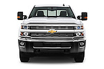 Car photography straight front view of a 2016 Chevrolet Silverado-3500HD LT-Crew-SRW 4 Door Pickup Front View