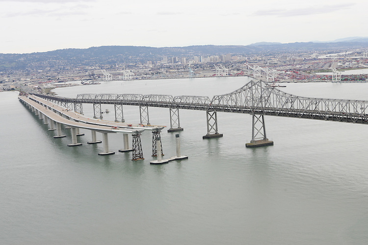 January 26, 2008; San Francisco, CA, USA; Aerial view of the construction of the new eastern span of the San Francisco-Oakland Bay Bridge. Photo by: Phillip Carter