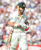 David Warner walks off after losing his wicket - England vs Australia - 5th day of the 5th Investec Ashes Test match at The Kia Oval, London - 25/08/13 - MANDATORY CREDIT: Rob Newell/TGSPHOTO - Self billing applies where appropriate - 0845 094 6026 - contact@tgsphoto.co.uk - NO UNPAID USE
