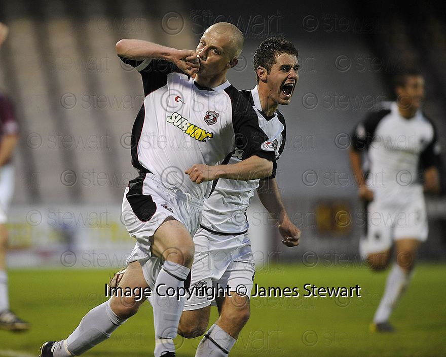 13/05/2008   Copyright Pic: James Stewart.File Name : sct_jspa15_gretna_v_hearts.GAVIN SKELTON CELEBRATES WITH NICKY DEVERDICS AFTER HE SCORES GRETNA'S GOAL.James Stewart Photo Agency 19 Carronlea Drive, Falkirk. FK2 8DN      Vat Reg No. 607 6932 25.Studio      : +44 (0)1324 611191 .Mobile      : +44 (0)7721 416997.E-mail  :  jim@jspa.co.uk.If you require further information then contact Jim Stewart on any of the numbers above........
