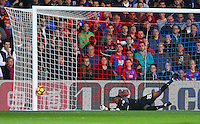 Steve Mandanda of Crystal Palace is beaten in the Palace goal but Liverpool hit the post during the EPL - Premier League match between Crystal Palace and Liverpool at Selhurst Park, London, England on 29 October 2016. Photo by Steve McCarthy.