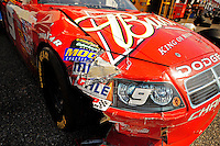 Oct 3, 2008; Talladega, AL, USA; Damage to the car of NASCAR Sprint Cup Series driver Kasey Kahne following a crash during practice for the Amp Energy 500 at the Talladega Superspeedway. Mandatory Credit: Mark J. Rebilas-