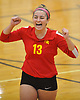 Paige Zimmerly #13 of Sacred Heart Academy reacts after a point in the third set of a CHSAA varsity girls volleyball match against host St. John the Baptist High School in West Islip on Thursday, Oct. 12, 2017.