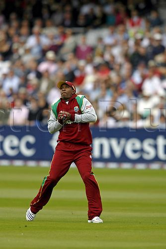 1 July 2007: West Indies all-rounder Dwayne Bravo catches a miss-timed shot from A Cook during the first Natwest series one day International between England and West Indies at Lords. England won the match by 79 runs Photo: Neil Tingle/Action Plus...070701 cricket cricketer catch catching caught