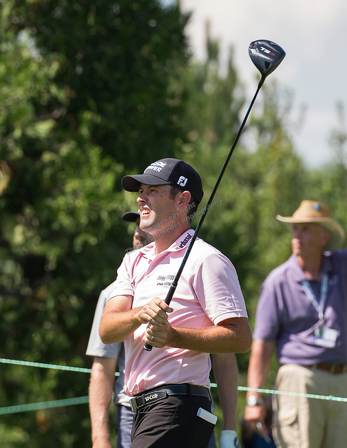 Robert Streb watches his drive on the 2nd hole during the Barracuda Championship PGA golf tournament at Montrêux Golf and Country Club in Reno, Nevada on Saturday, July 27, 2019.