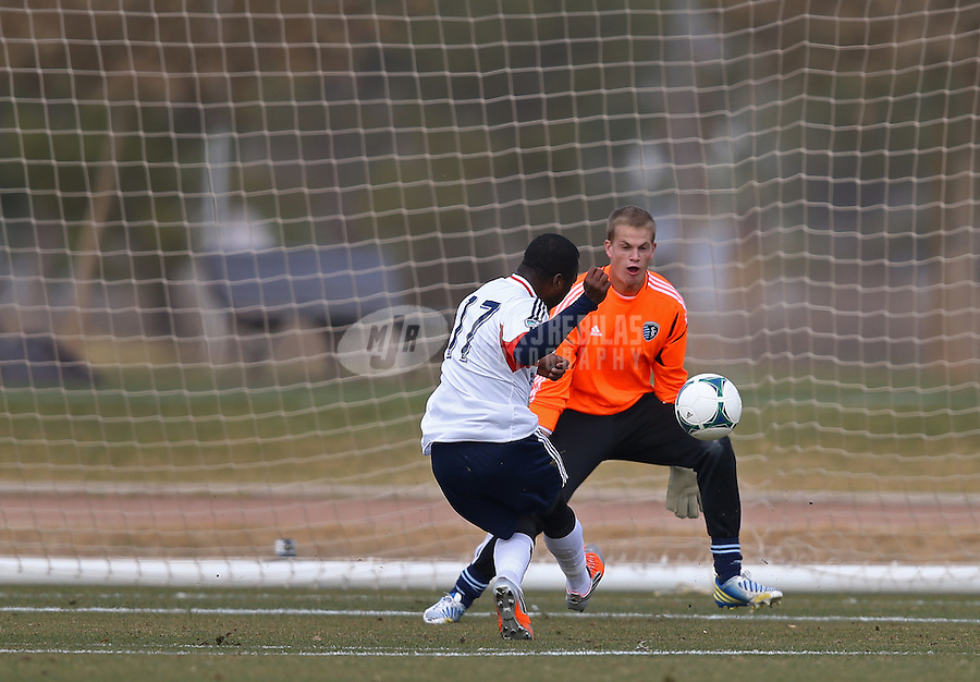 Jan. 25, 2013; Casa Grande, AZ, USA: Sporting KC goalie Erik Kronberg defends the goal as New England Revolution midfielder Sainey Nyassi (17) takes a shot during a preseason game at Grande Sports World. Mandatory Credit: Mark J. Rebilas-USA TODAY Sports