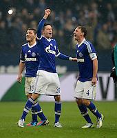 FUSSBALL   1. BUNDESLIGA   SAISON 2012/2013    25. SPIELTAG FC Schalke 04 - Borussia Dortmund                         09.03.2013 Sead Kolasinac, Julian Draxler und Benedikt Hoewedes (v.l., alle FC Schalke 04) freuen sich nach dem Abpfiff