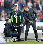 15.04.2018 Celtic v Rangers scottish cup SF:<br /> Brendan Rodgers high fives a ballboy as Celtic score a second goal