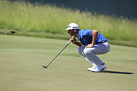 Dustin Johnson (USA) lines up his putt on the 6th green during Friday's Round 2 of the 117th U.S. Open Championship 2017 held at Erin Hills, Erin, Wisconsin, USA. 16th June 2017.<br /> Picture: Eoin Clarke | Golffile<br /> <br /> <br /> All photos usage must carry mandatory copyright credit (&copy; Golffile | Eoin Clarke)