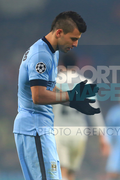 Sergio Aguero of Manchester City looks dejected - Manchester City vs. CSKA Moscow - UEFA Champions League - Etihad Stadium - Manchester - 05/11/2014 Pic Philip Oldham/Sportimage