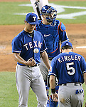 Yu Darvish (Rangers),<br /> JUNE 25, 2013 - MLB :<br /> Yu Darvish of the Texas Rangers talks with catcher A.J. Pierzynski and second baseman Ian Kinsler on the mound in the sixth inning during the Major League Baseball game against the New York Yankees at Yankee Stadium in The Bronx, New York, United States. (Photo by AFLO)