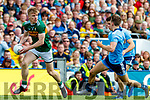 Tommy Walsh, Kerry in action against Michael Fitzsimons, Dublin and David Byrne, Dublin during the GAA Football All-Ireland Senior Championship Final match between Kerry and Dublin at Croke Park in Dublin on Sunday.