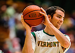 22 December 2012: University of Vermont Catamount forward Clancy Rugg, a Junior from Burlington, VT, warms up prior to a game against the University of Fairleigh Dickinson Knights at Patrick Gymnasium in Burlington, Vermont. The Catamounts defeated the Knights 76-62 in non-conference men's basketball action and notching their 7th win of the season. Mandatory Credit: Ed Wolfstein Photo