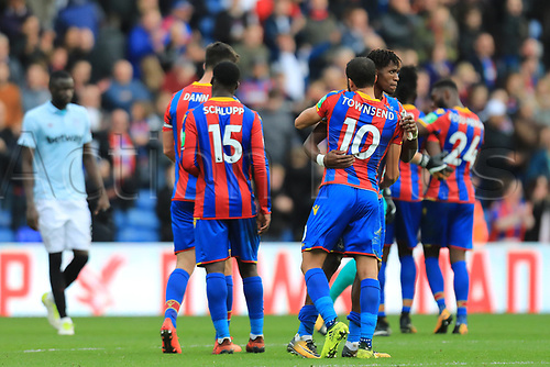 28th October 2017, Selhurst Park, London, England; EPL Premier League football, Crystal Palace versus West Ham United; Wilfried Zaha of Crystal Palace celebrates the 2-2 draw with Andros Townsend