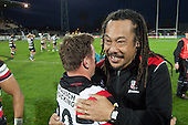 Tana Umaga and Kane Hancy embrace as they celebrate the Steelers win. ITM Cup and Ranfurly Shield rugby game between Hawke's Bay Magpies and Counties Manukau Steelers, played at McLean Park Napier on September 7th 2013.  Counties Manukau won the game 27 - 24 after trailing 16 - 14 at halftime. With the win Counties Manukau claimed the Ranfurly Shield for the first time in the Union history.