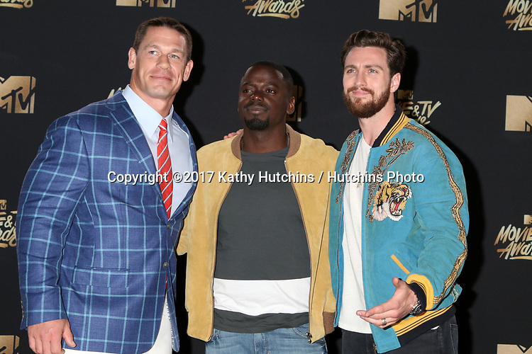 LOS ANGELES - MAY 7:  John Cena, Daniel Kaluuya, Aaron Taylor-Johnson at the MTV Movie and Television Awards on the Shrine Auditorium on May 7, 2017 in Los Angeles, CA