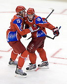 Evgeni Grachev (Russia - 15), Sergei Andronov (Russia - 16) - Canada defeated Russia 6-5 on Saturday, January 3, 2009, at Scotiabank Place in Kanata (Ottawa), Ontario during the 2009 World Junior Championship.