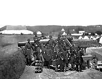 Officers of 69th New York Infantry at Fort Corcoran, Va.  Mathew Brady Collection. (Army)<br /> Exact Date Shot Unknown<br /> NARA FILE #:  111-B-484<br /> WAR &amp; CONFLICT BOOK #:  146