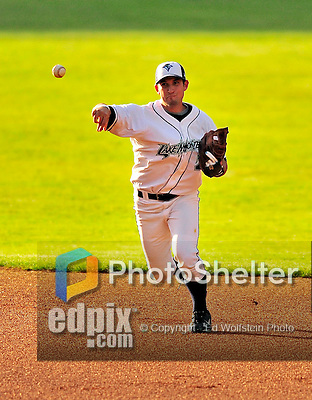 22 June 2009: Vermont Lake Monsters' shortstop Sean Nicol in action against the Tri-City ValleyCats at Historic Centennial Field in Burlington, Vermont. The Lake Monsters defeated the visiting ValleyCats 5-4 in extra innings. Mandatory Photo Credit: Ed Wolfstein Photo