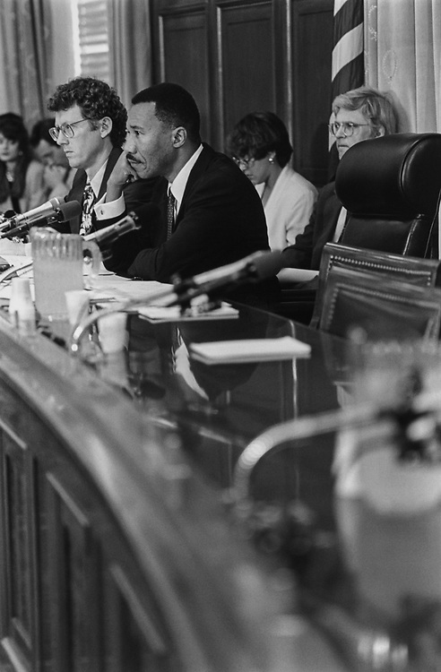 Rep. Kweisi Mfume, D-Md., presiding over a Joint Economic Committee Meeting, on July 8, 1994. (Photo by Maureen Keating/CQ Roll Call via Getty Images)