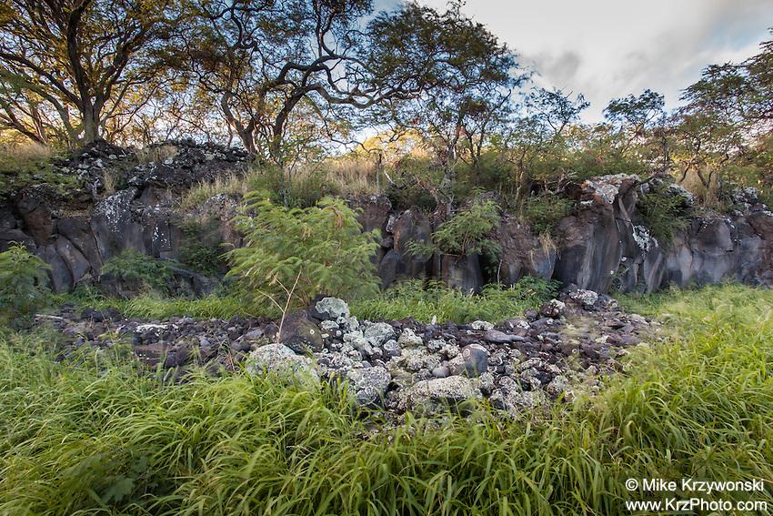 Rock wall ruins at the petroglyph site near Nu'u Bay, Kaupo, Maui